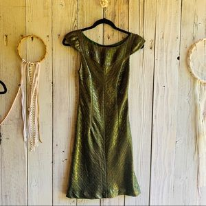 Anthro: Christopher Dean Green and Gold Dress